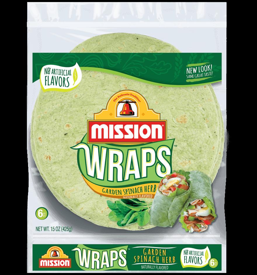 mission garden spinach herb wraps